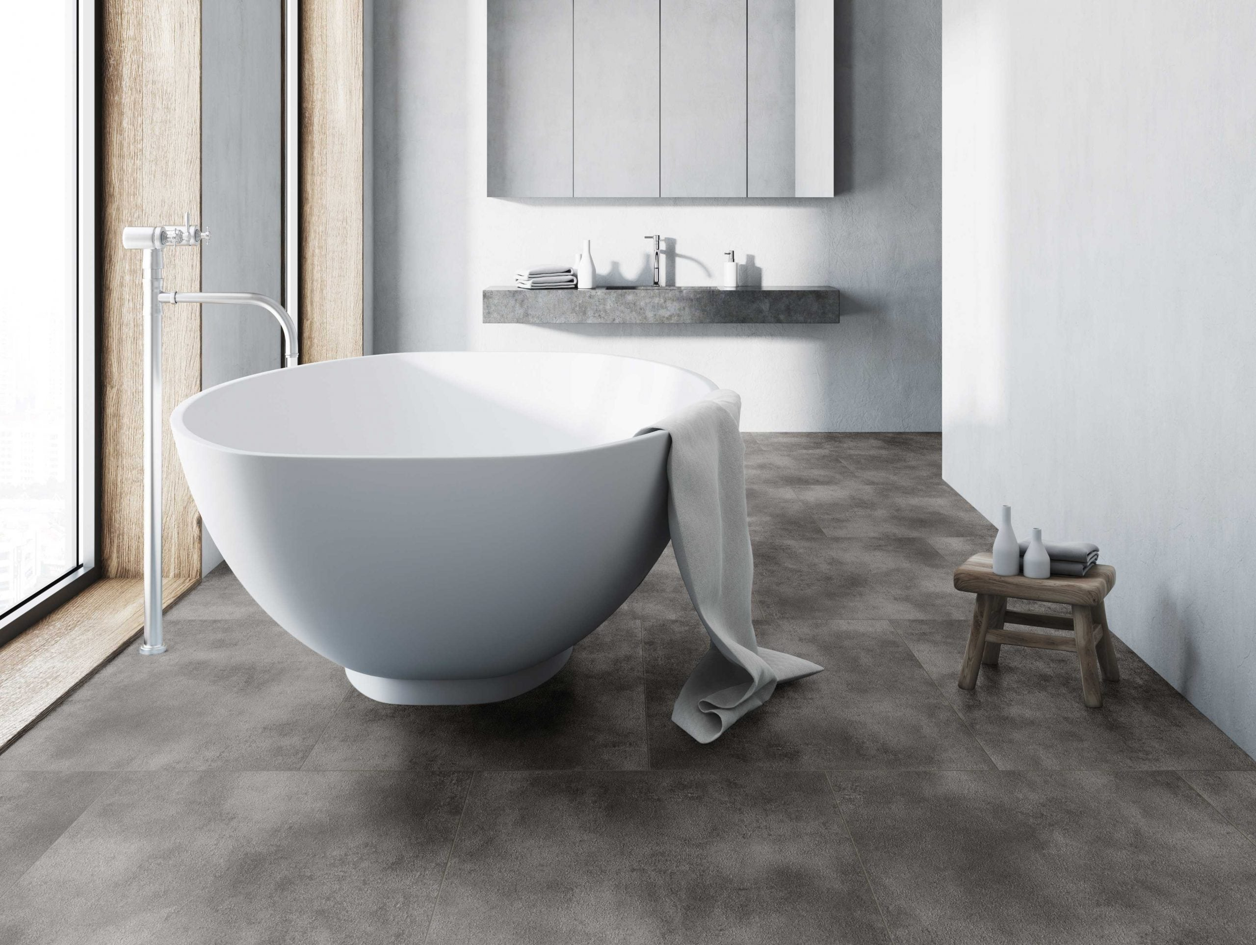 Rigid Core Tile 8800 Betonlook vloer Grey badkamer